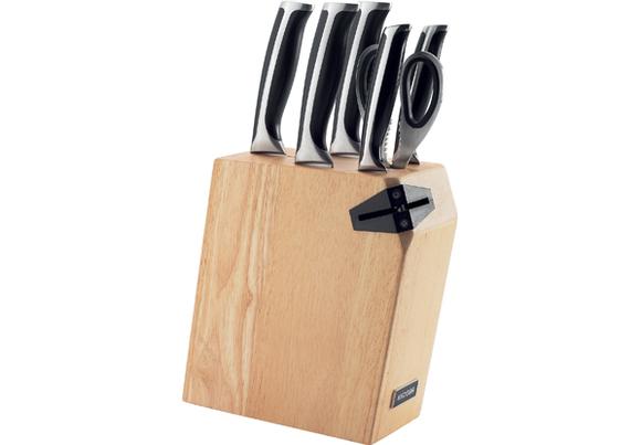 Набор из 5 кухонных ножей, ножниц и блока для ножей с ножеточкой, NADOBA, серия URSA