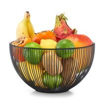 Ваза для фруктов d-25х14 см., черная, металл.