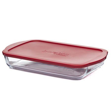 Посуда для СВЧ лоток квадратный с крышкой 3850 мл (400*250*61 мм)