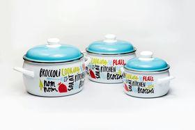Набор посуды 6 предметов (2,2л, 4л, 5,3л), металлические крышки Брокколи, 181002